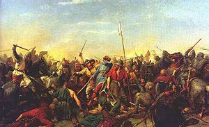 The Battle of Stamford Bridge took place at the village of Stamford Bridge  between an English army under King Harold Godwinson and an invading Norwegian force led by King Harald Hardrada of Norway and the English king's brother Tostig Godwinson. After a bloody and horrific battle, both Hardrada and Tostig along with most of the Norwegians were killed.The battle has traditionally been presented as symbolising the end of the Viking Age.