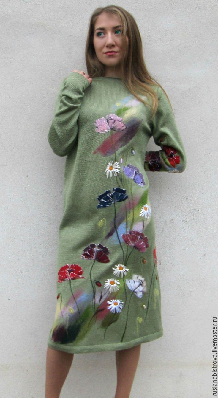 """Купить """" Полевых цветов сияние """" - салатовый, рисунок, полевые цветы, маки, ромашки"""