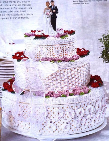 Вязаный свадебный торт..