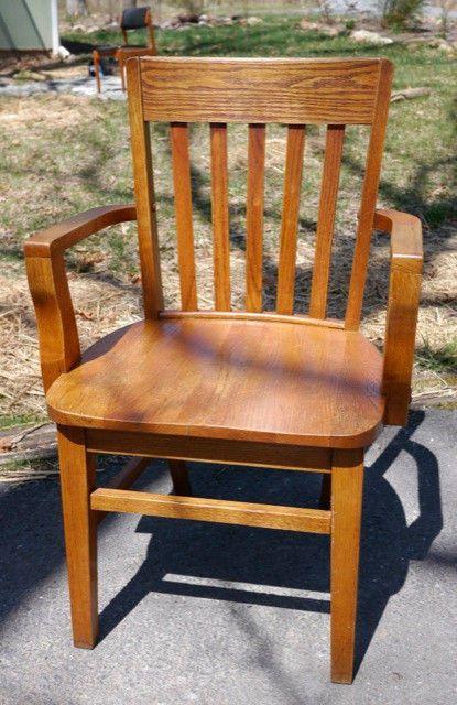 Vintage antique s solid honey oak office slat back