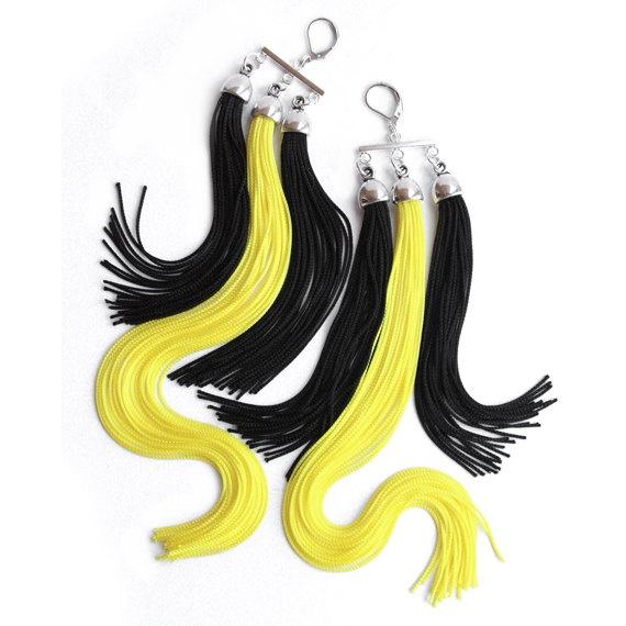 Night Sun - Aztec Tribe - Long Triple Fringe Earrings. $50.00 USD, via Etsy.