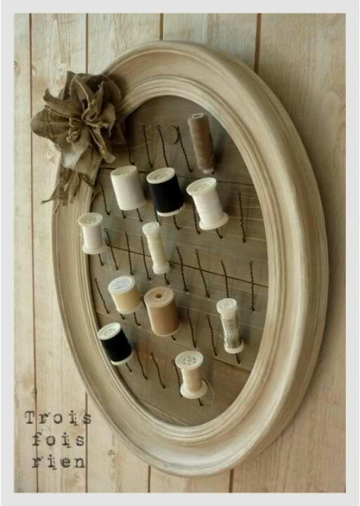 Sewing - decorative thread storage...neat idea, maybe color coordinated with room or a rainbow of colors...so many ideas!