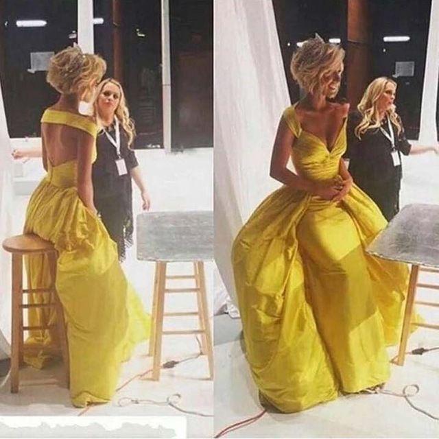 Robe soiree jaune canari