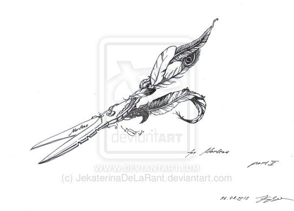 Scissors Feather by JekaterinaDeLaRant on deviantART
