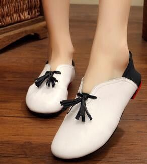 Handmade genuine leather ballet flat shoes women slip on leather styling flat casual shoes