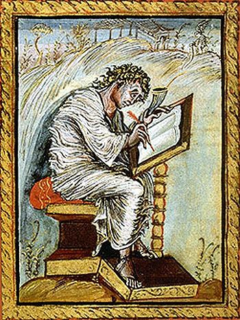 saint matthew folio 18 Ebbo Gospels. the difference in the Saint Matthew depiction over time is incredible ca. 816-835