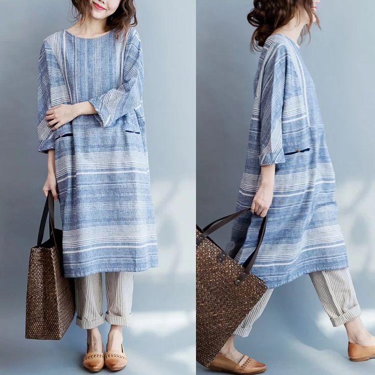 Stripe dress long clothes