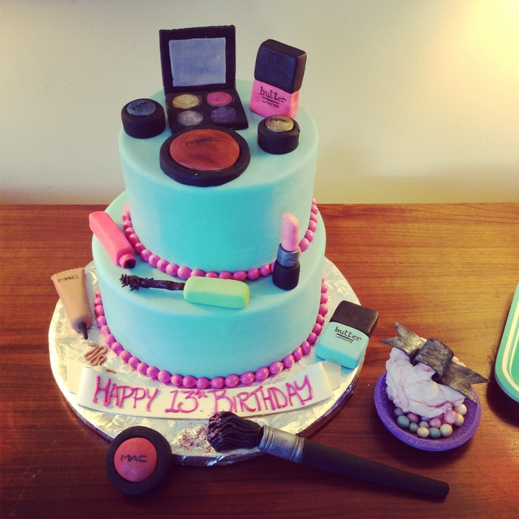 Birthday cake with fondant make-up and a bowl of Guerlain ...