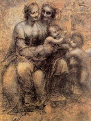 Leonardo Da Vinci Drawing - Virgin and Child with St Anne and St John the Baptist