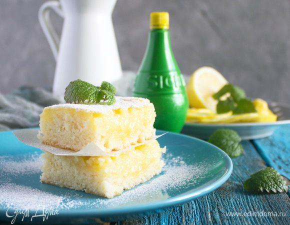 Лимонные квадратики . Ингредиенты: мука, разрыхлитель, сахар