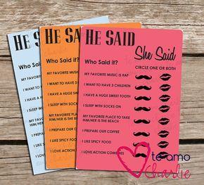 Wedding Shower Printable He Said She Said Game - Bridal Shower Game - Wedding Shower Game - Bridal Shower Printable He Said She Said Game on Etsy, $6.00