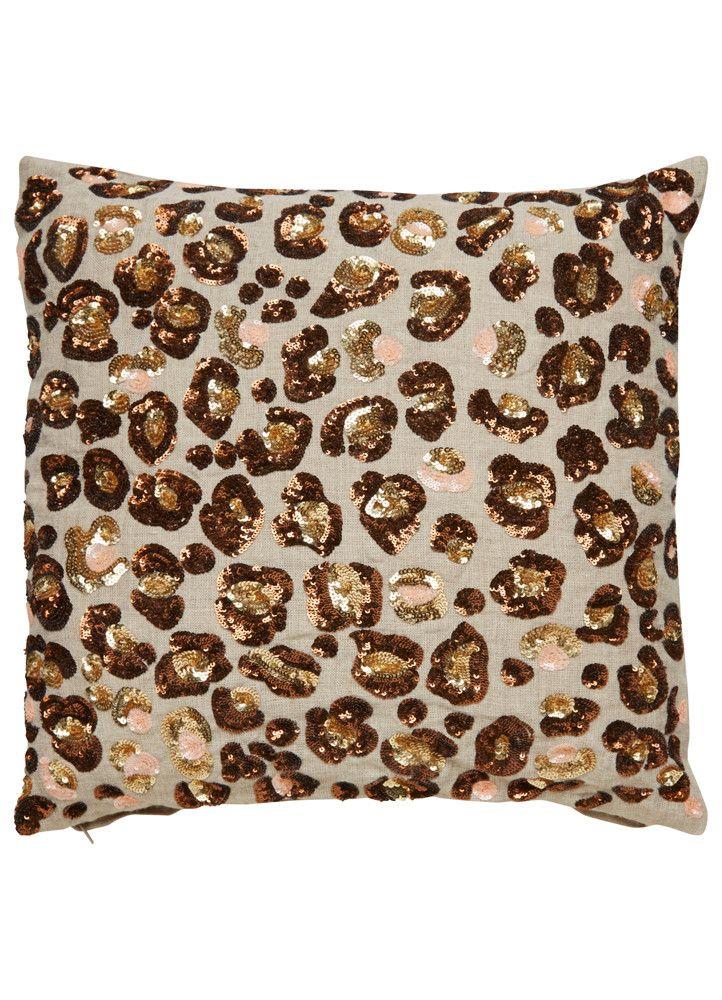 Sequin Leopard Pillow