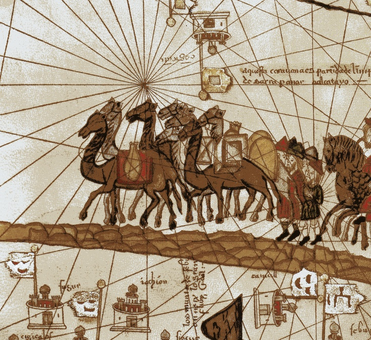 French: Marco Polo's caravan traveling to India (detail), 1375, French, Coureurs des mers, Poivre d'Arvor, Abraham Cresques, Atlas catalan