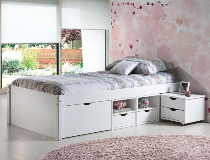 Weißes Jugendbett aus Kiefer mit Schubladen-Till von Interlink