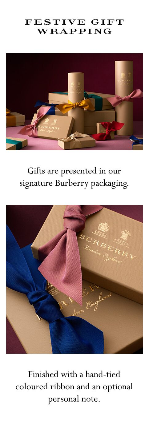 Select gift packaging when purchasing your Burberry gifts. You can also add a personal message to your order.