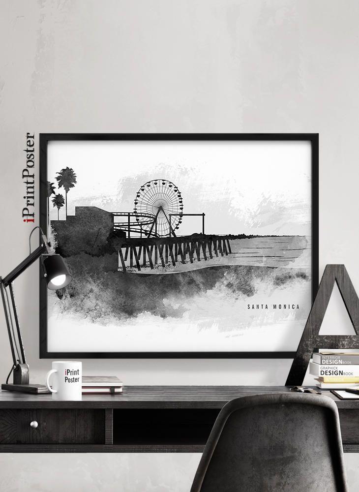 Santa Monica art print, Santa Monica California poster, Wall art, Art prints, Black & white, Travel, Home Decor, City prints, iPrintPoster by iPrintPoster on Etsy
