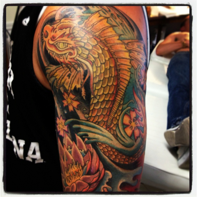 Bryans Koi Dragon Arm Finished Scott Hill Tattoo Closter
