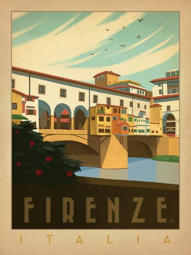 Italia: Firenze - We were inspired by vintage travel prints from the Golden Age of Poster Design (a glorious period spanning the late-1800s to the mid-1900s.) Printed on gallery-grade paper, this his romantic print of Florence, Italy is sure to be a conversation piece for years to come.