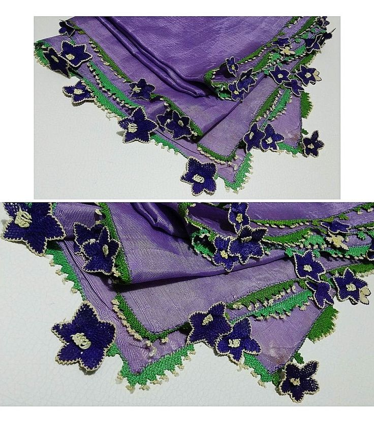 Silk 'oyalı yazma' (headscarf with Turkish lace) from the Aydın region.  Ca. mid-20th century.  The lace edging is made with the needle ('iğne oyası').  (Source: Tekin Uludoğan, Balıkesir).