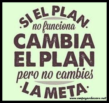 Si el plan no funciona, cambia el plan pero no cambies la meta - http://empezardecero.net/mediateca/plan-no-funciona-cambia-plan-no-cambies-la-meta/