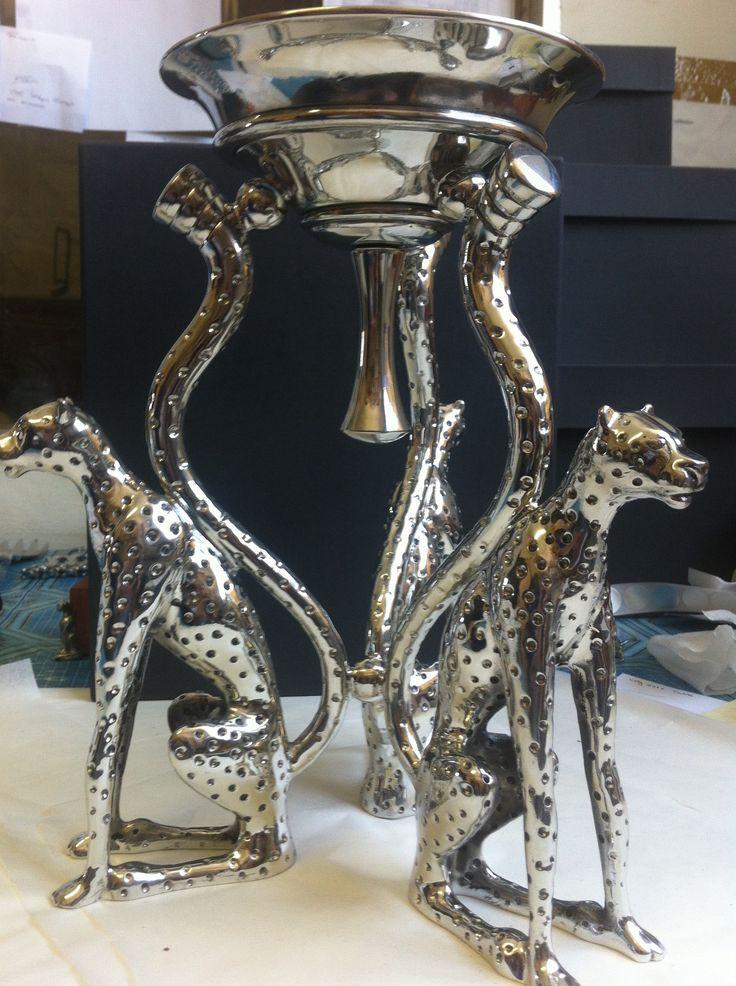 Pewer handcrafted. Diana Carmichael design. Candle stick holder 27cm 3- Cheetah | GoodiesHub.com