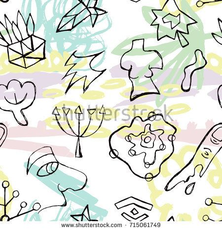 Vector seamless pattern with hand-drawn pictures in postmodernism style. Background for printing brochure, poster, textile design, wear. Modern trendy graphic print for hipsters.
