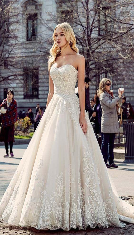milano bridal 2018 sleeveless sweetheart lace wedding dress