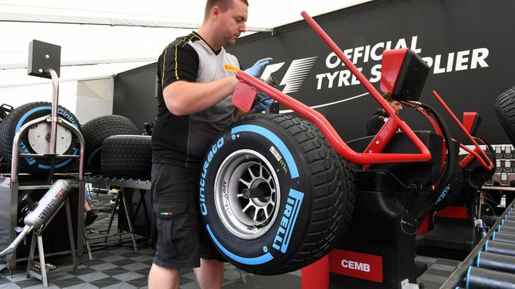 Pirelli tyre preparation area at Spa Francorchamps preparations for Belgian Grand Prix - Thursday 24 August 2017