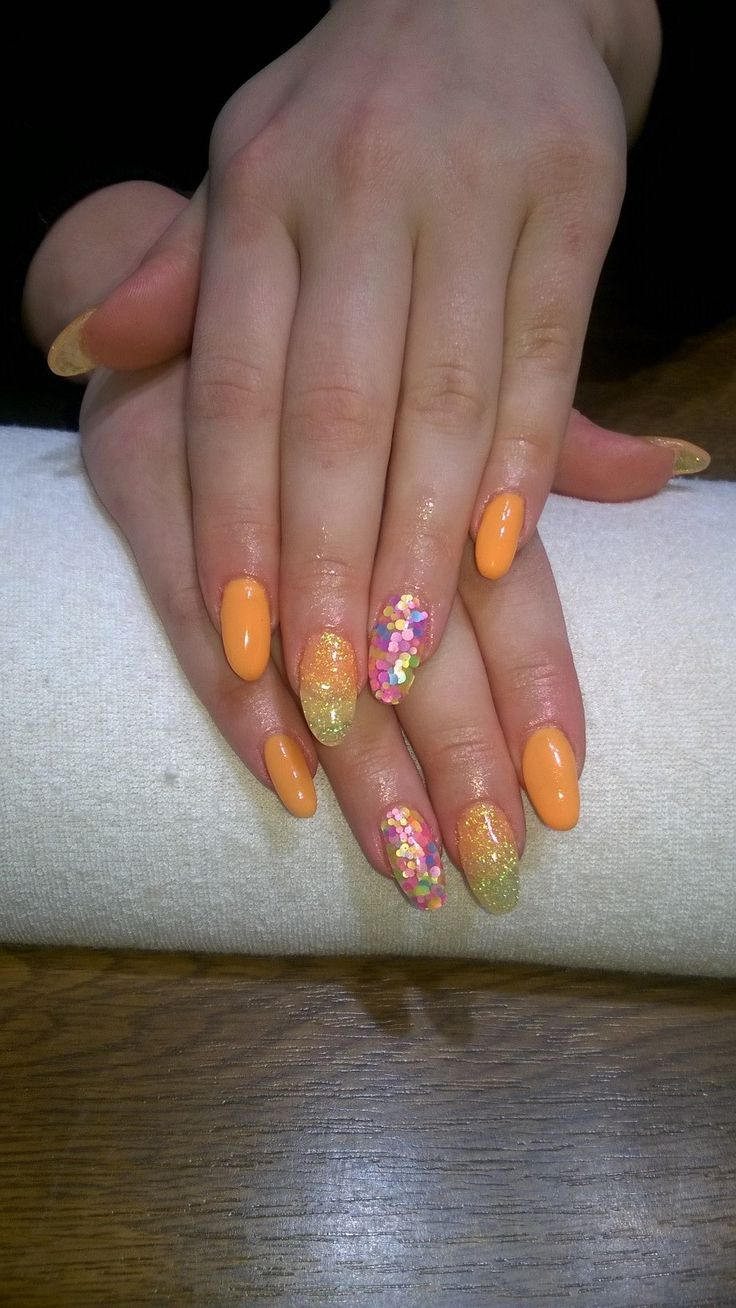 orange gel, orange and yellow glitter
