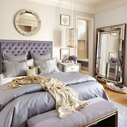 PERFECT Purple Bedroom with Silvery Gold Mirrors - Tara Dudley Interiors   http://taradudleyinteriors.com/
