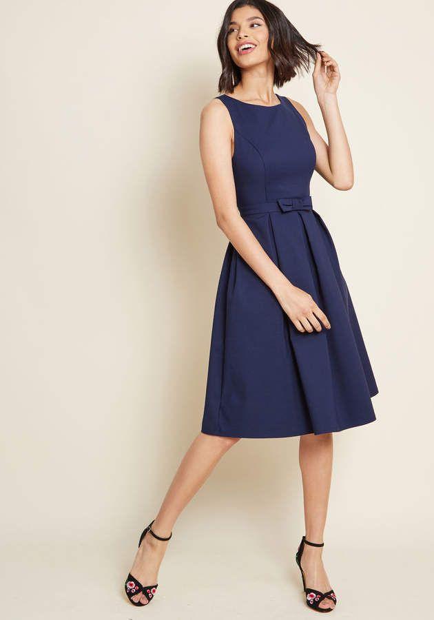 df36e1cfaea Afahk Ltd - Liza Luxe Polish Aplenty Fit and Flare Dress in Navy #Luxe# Polish#Afahk
