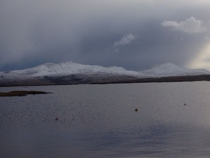 South Uist hills with a covering of snow Outer Hebrides