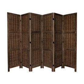 Oriental Furniture 6-Panel Burnt Brown Wood Folding Indoor Privacy Scr