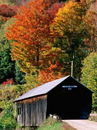 One of the many covered bridges in Vermont, my husband's home state. We have seen many of them when visiting family there, but never during the height of the fall co