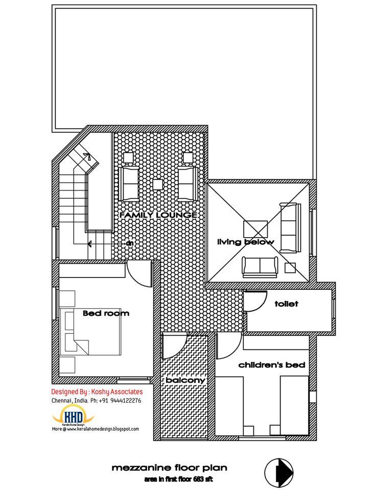 First floor plan of modern house design - 1809 Sq. Ft.