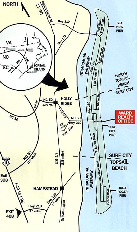 Map of Topsail Island