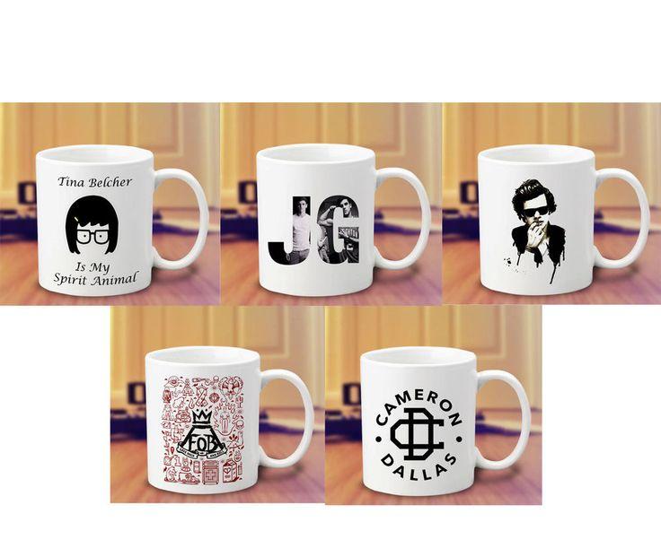 Tina Belcher Cameron Dallas Magcon FOB Harry Styles 1D Harry Potter Coffee Mug #Handmade  #mug #mugs #custom #cup #coffee #tea #hot #harry #potter #spell #quote #mom #sister #couple #gift #band #magcon #5sos #twin #peaks