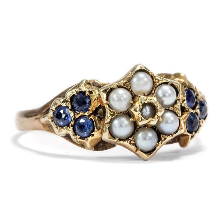 Knaben-morgen-blüten-traum - Viktorianischer Gold-Ring mit Saphiren & Perlen, England um 1890 #hoferantikschmuck #antik #schmuck #antique #jewellery #jewelry