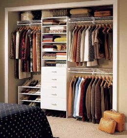 closet. Go without doors. Ours would never be clean and it would drive me crazy.