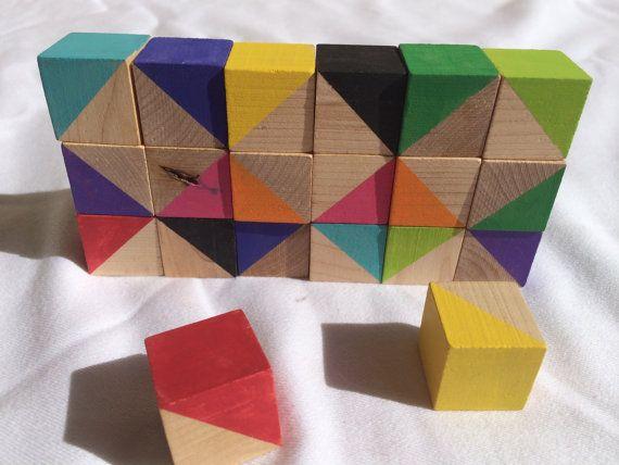 Ocupado bloques - Waldorf y montessori inspiraron en bloques de madera para niños pequeños