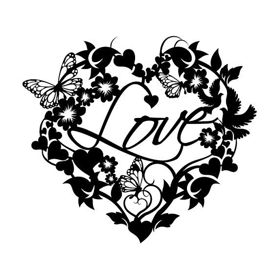 Paper Cutting, Template, Love, heart shape, round flower