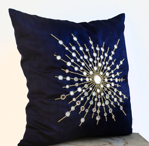 Premium Pure Navy Blue Silk Pillow Cover Mirror by AmoreBeaute
