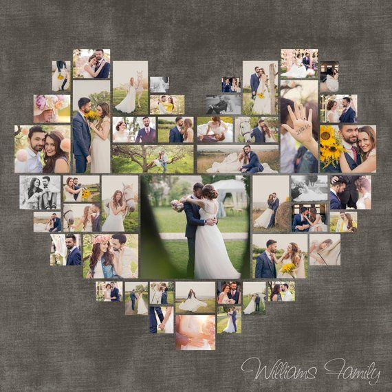 Heart Photo Collage. Valentine's day Gift. Wedding gift. Custom Anniversary gift. Gift for her. Digital copy. Size 40″x40″/ 20″x20″/ 10″x10″