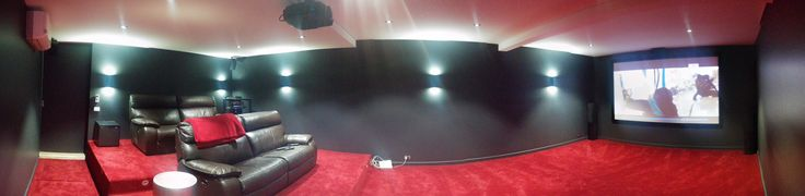 Panoramic view of a beautifully finished off cinema room by Macktronix Albury Wodonga.  It features:- Sound By Denon and Jamo Visual by Epson Screen by Macktronix Installation, Design and Sales by Macktronix