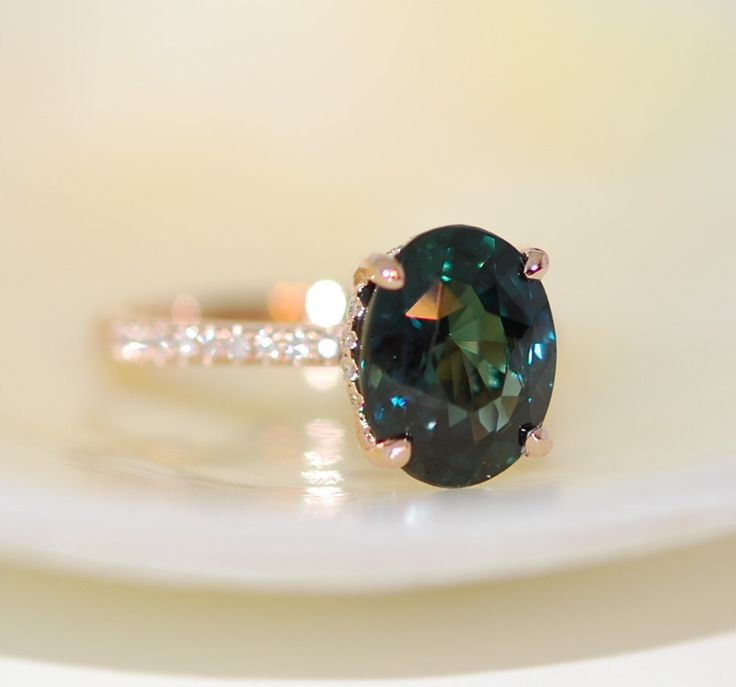 Peacock Green sapphire engagement ring. Peacock sapphire 4.08ct oval diamond  ring 14k Rose gold. by EidelPrecious on Etsy https://www.etsy.com/listing/267945424/peacock-green-sapphire-engagement-ring