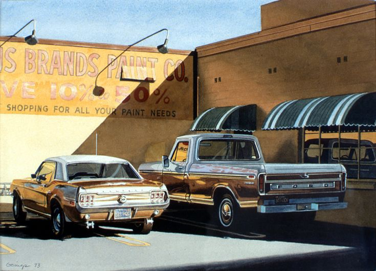 """Ralph Goings (American, born 1928) """"Famous Brands Paint"""", 1973 ~ watercolor"""