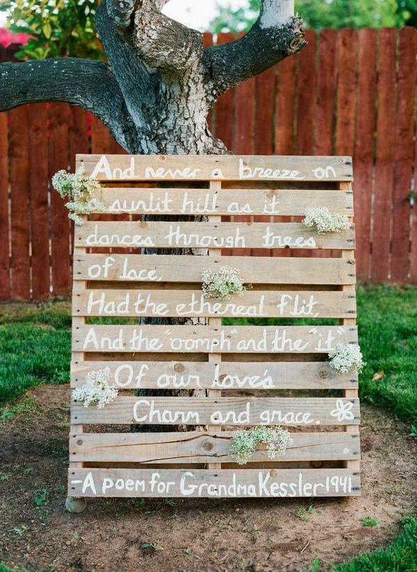sweet family poem // photo by Troy Grover Photographers, view more: http://ruffledblog.com/backyard-california-wedding/