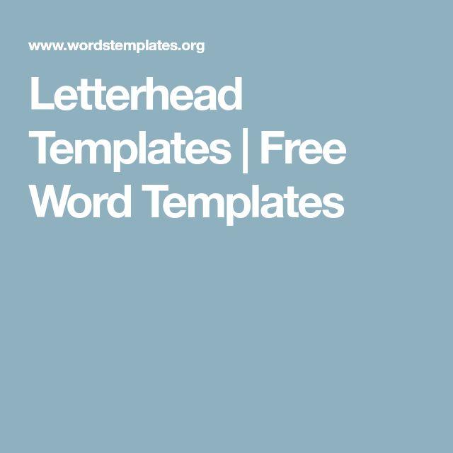 Best 25+ Free letterhead templates ideas on Pinterest Free - letterhead template word free