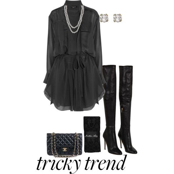 #TrickyTrend  #OverTheKneeBoots  #black #pearls #isabelmarant  #jimmychoo  #Chanel #crystals #chic