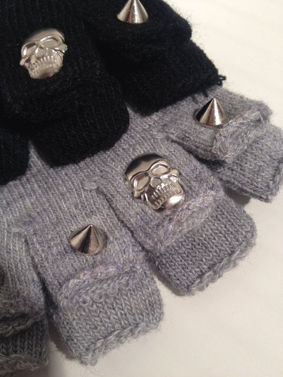 Fingerless Knitted Gloves with Studs and by RedPepperBoutique, £5.00